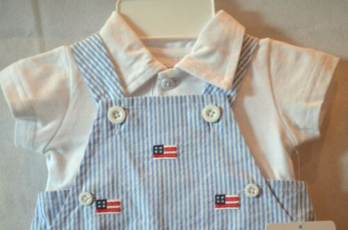 NWT White Shirt STARTING OUT Blue /& White Striped Coveralls w// American Flag