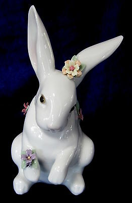 LLADRO ATTENTIVE BUNNY WITH FLOWERS BRAND NEW IN BOX #6098 RABBIT CUTE SAVE$ F//S
