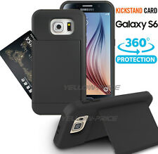 For Samsung Galaxy S6 Case Pocket Stash Case BLACK Shock Absorb Kick-Stand Cover