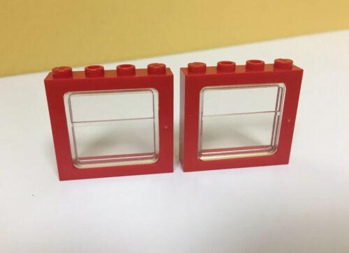 3225 LEGO Lot of 2x Red Window 1 x 4 x 3 Train w// Clear Glass 4841