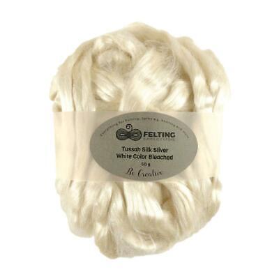 Pure Tussah Silk Natural White Cream Felting Spinning Paper Making 50g