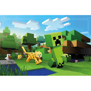 Minecraft-Ocelot-Chase-POSTER-61x91cm-NEW-Video-Game-Creeper