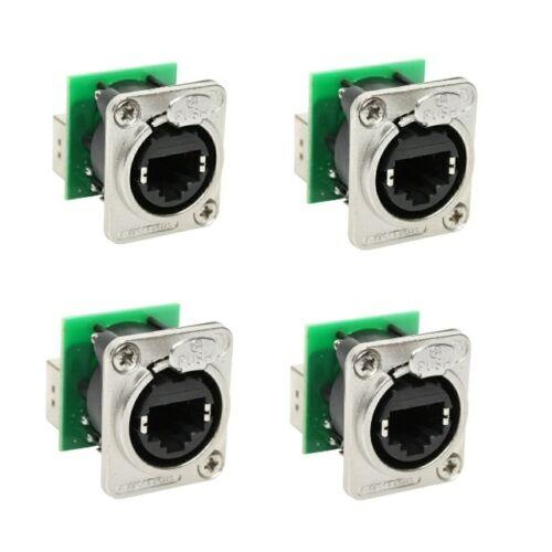 4 Neutrik NE8FDP Ethercon Ethernet Pass-Through Panel Mount Connectors