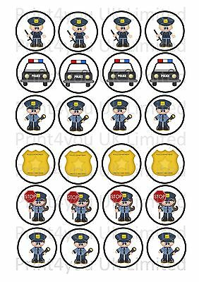 24 Edible cake toppers decorations cute mixed policeman police cartoon