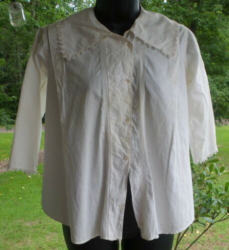ANTIQUE! Hand STITCHED Women's BLOUSE With LACE C… - image 1