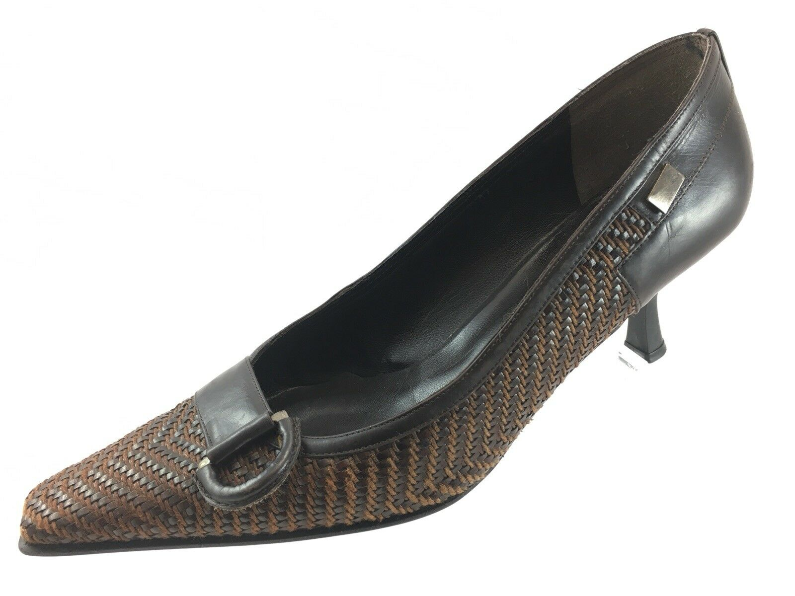 SH3 Stuart Weitzman 9.5M Brown Woven Leather Pumps Heels Pointy Toe Embellished