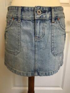 0a00cf9979 American Eagle Sz 6 Mini Skirt Blue Denim Jean Destroyed Distre ...