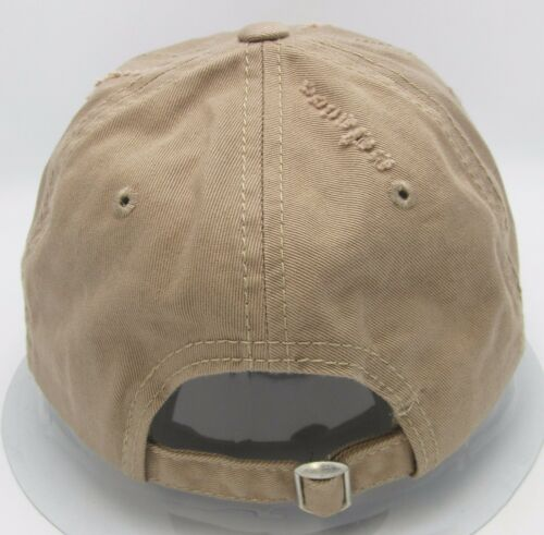 Distressed Unconstructed Cap DECKY Dad Hat Curved Visor Adjustable Khaki NWT