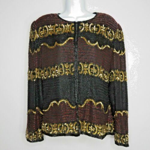 Lawrence Kazar Vintage Beaded Sequined Black Gold