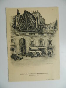 Grabado Según Un Dibujo Al Carboncillo Miss D. Richier Aux Tres Faisanes Dijon