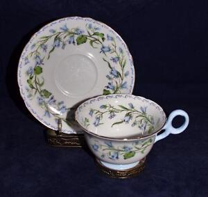 Shelley-China-13544-Blue-Flowers-HAREBELL-Footed-Cup-amp-Saucer-Set