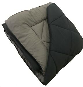 "BLACK AND GRAY REVERSIBLE COMFORTER - DIAMOND QUILTED - RV QUEEN SIZE 82"" X 92"""