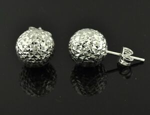 Image Is Loading 18k White Gold Diamond Cut Ball Stud Earring