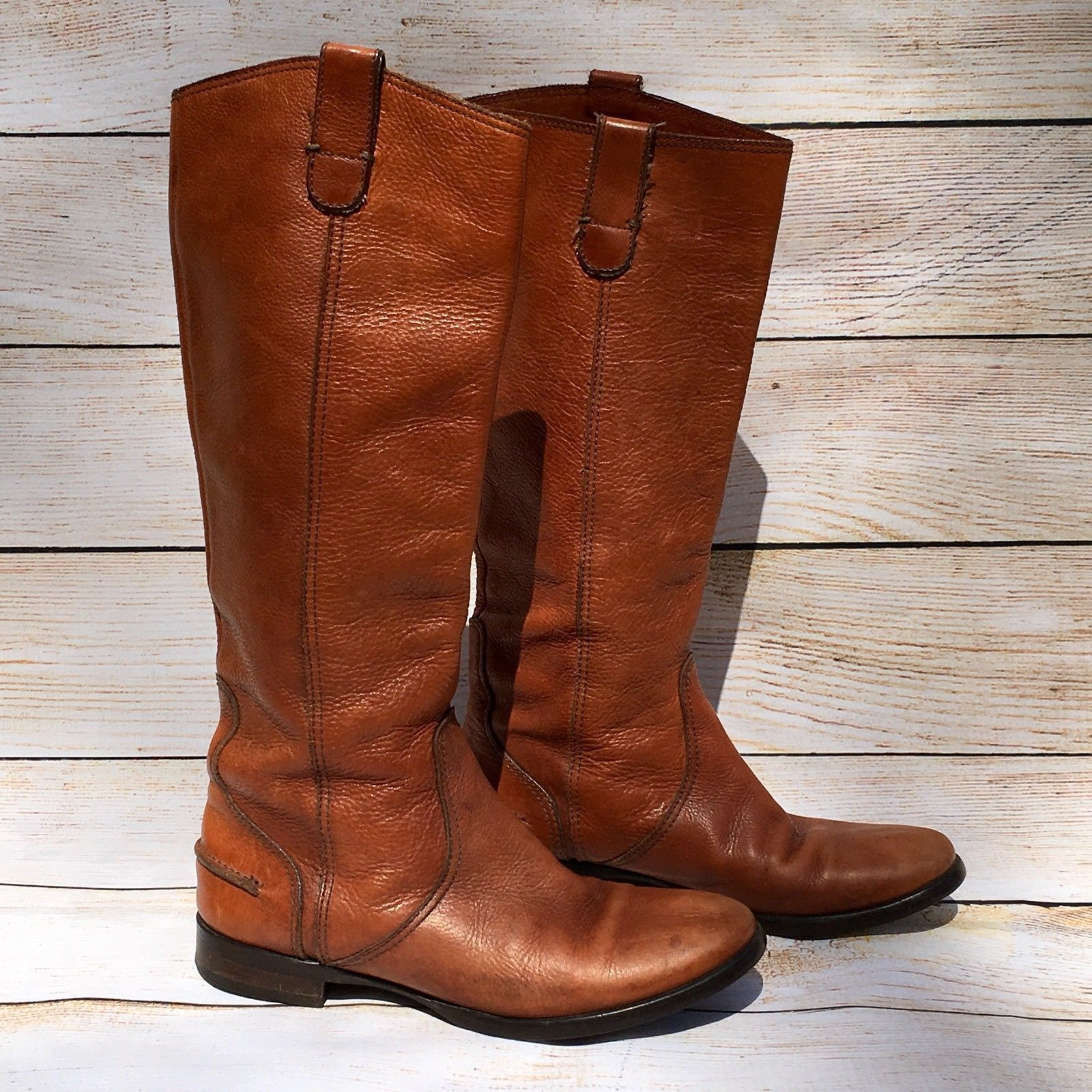 c116e51118dac Italian Leather Leather Leather Riding Boots 6.5 Cognac Brown ...