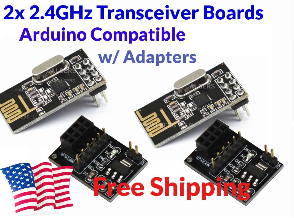 Details about 2Pcs NRF24L01 NRF2401 NRF24 2 4GHz Transceiver For Arduino w  Breakout Adapters