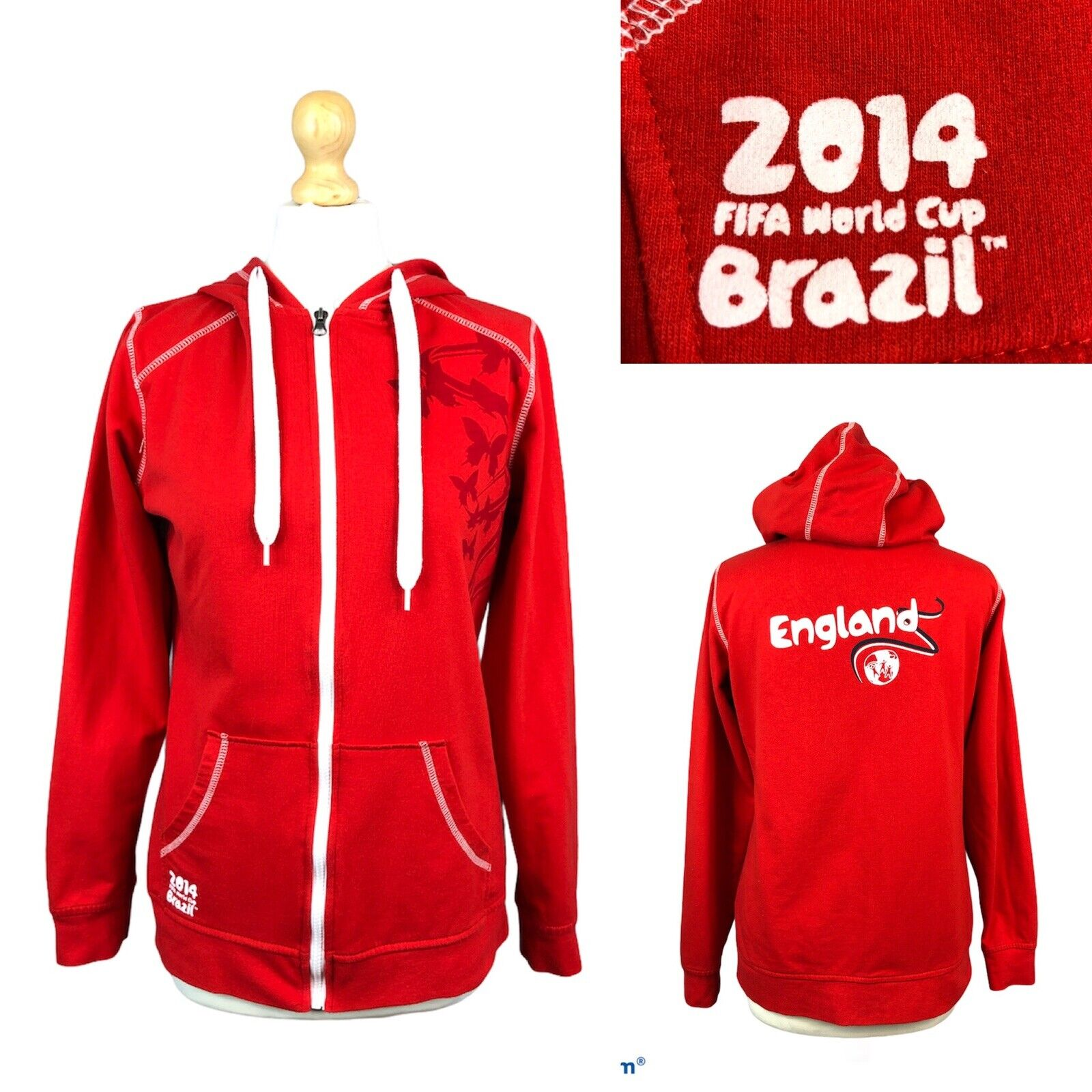 Official FIFA World Cup Brazil 2014 Red Hoodie ENGLAND Full Zip Hooded Jumper M