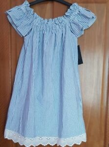 9535eedc2b Image is loading ZARA-Blue-White-Stripe-Off-Shoulder-Dress-BNWT-