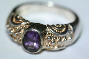 Glam-Designer-Women-039-s-1-CT-Amethyst-925-Sterling-Silver-Gold-Wash-Ring-Sz-6-75