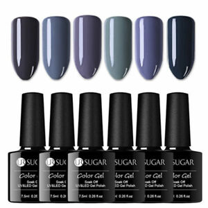 UR-SUGAR-6-Bottles-Nagel-Gellack-Soak-off-Nail-Gel-UV-Nagellack-Nail-Art-Grau