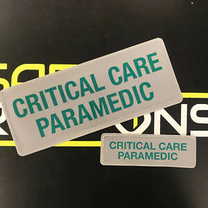 Encapsulated-CRITICAL-CARE-PARAMEDIC-GREEN-Reflective-Badge-SET-250mm-Ambulance