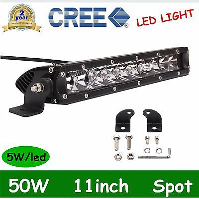 Single Row 50W CREE LED Work Light Bar 11inch Spot Beam Truck  Boat 12V 24V SALE