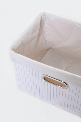 """4er Set Regalkorb Schrankkorb aus Bambus für Billy /""""Basko/"""" 36cm Weiß"""