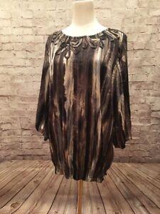 CHICOS-Size-2-Semi-Sheer-3-4-Sleeve-Brown-Silver-Metallic-Crinkle-Peasant-Blouse