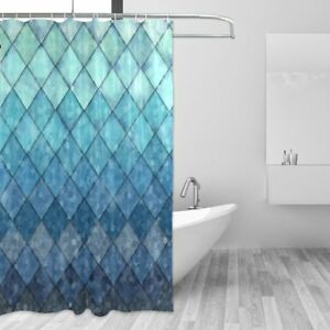 Image Is Loading ALAZA Shower Curtain Backdrop Ocean Blue Teal Mermaid
