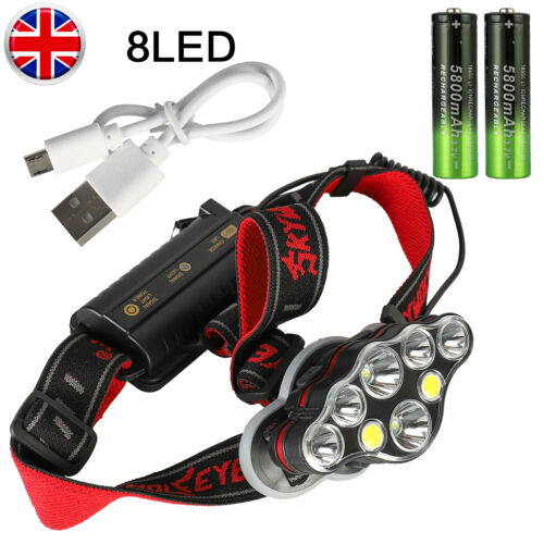 350000LM T6 LED Headlamp Headlight Torch Rechargeable Night Hiking Fishing Work