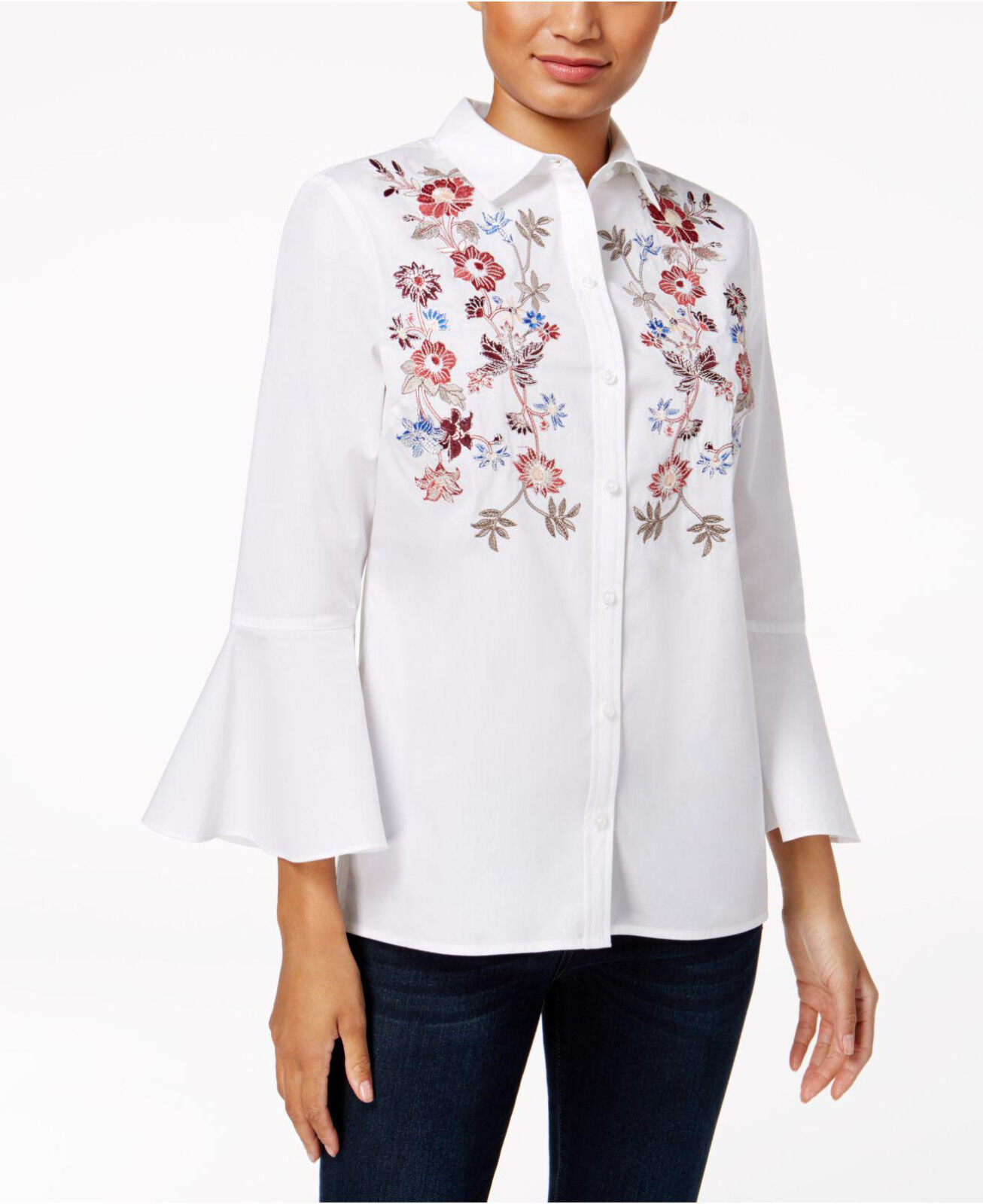 1b4269de897a2 Charter Club Cotton Embroidered Bell-Sleeve in Bright White