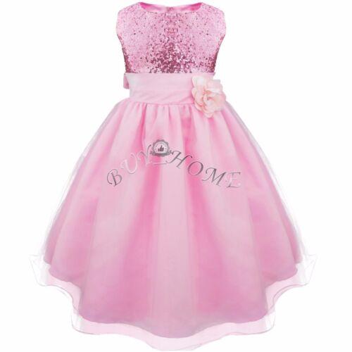 Girls Kids Glitter Sequin Wedding Flower Girl Dress Pageant Prom Party Ball Gown
