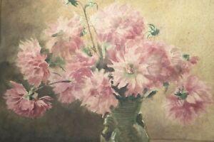 Gustav-Mueller-Aquarell-Dahlienstrauss-mit-Vase-1940