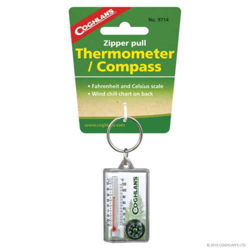 Coghlans Outdoor Veste Fermeture Éclair Zip Pull Thermomètre Fahrenheit et Celsius Boussole