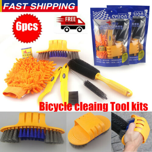 6pcs//set Bicycle Cleaing Tool Kits Chain Cleaner+Tire Brushe+Bike Cleaning Glove