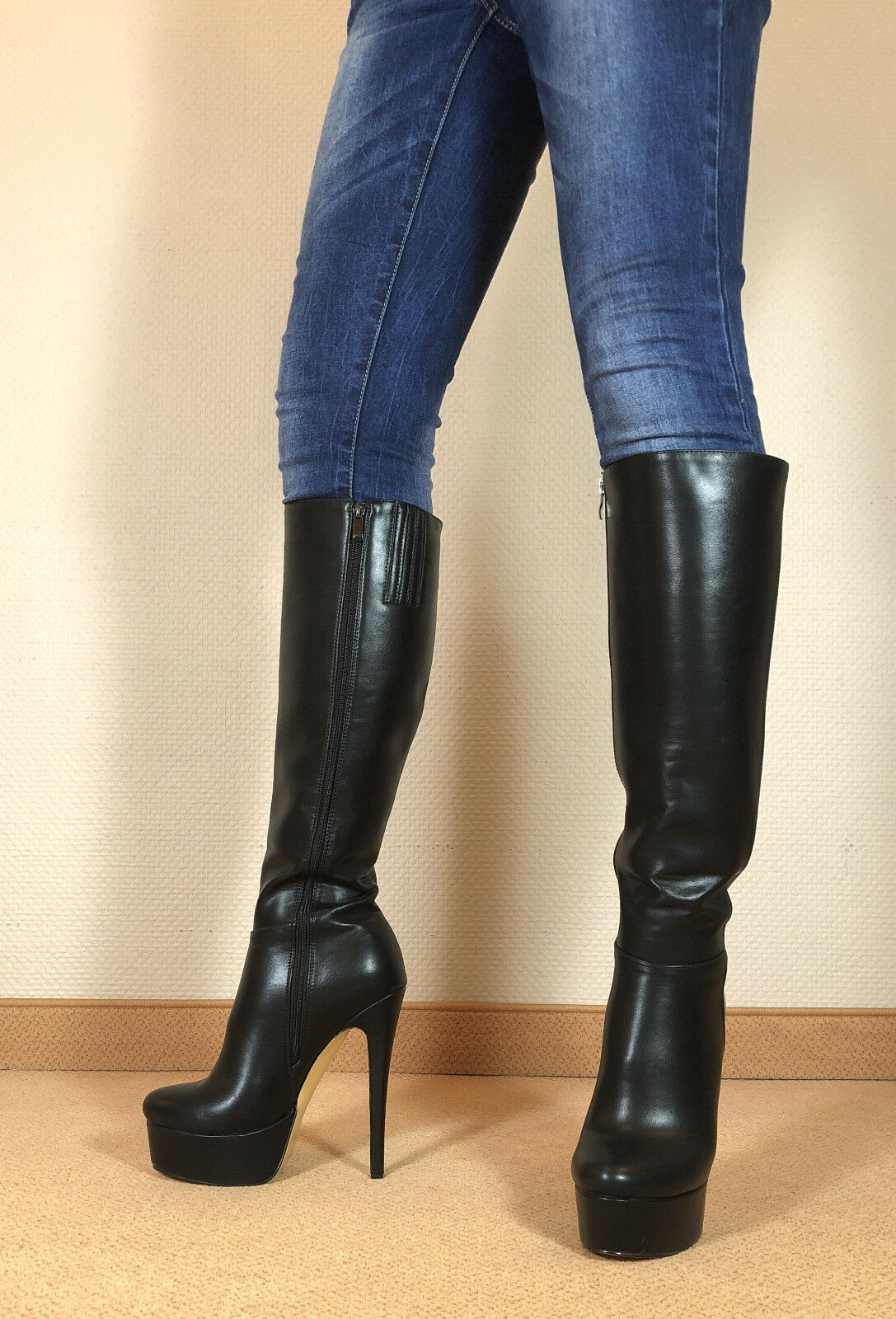 top! en exclusiva sexy Zapatos señora knee rodilla Stiletto bota botas mujers e1