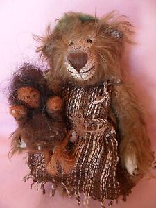 Kuenstlerteddy-Teddybaer-Baer-Bear-WICHTELMADCHEN-Margareta-Koch-Unikat-20cm