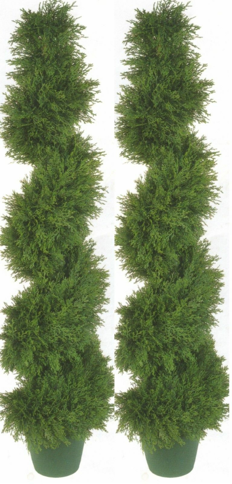 2 CYPRESS SPIRAL TOPIARY ARTIFICIAL OUTDOOR TREE 4' 2  CEDAR POOL PATIO BUSH 50