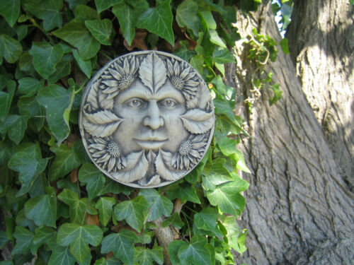 summer green man stone garden ornament Many more ornaments in my shop!
