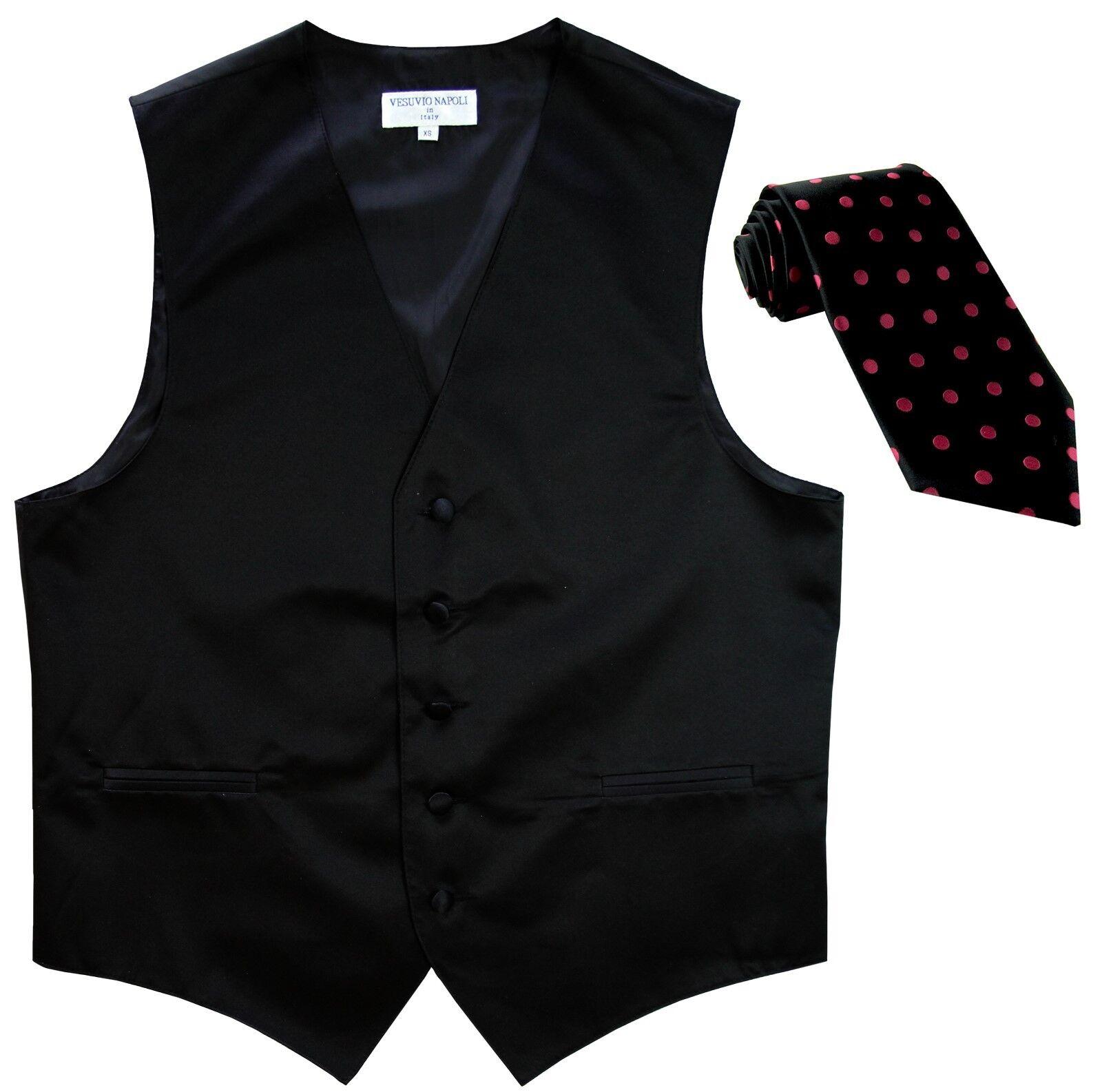 New Men's Black formal vest tuxedo Waistcoat_black Hot Pink Dots Necktie prom