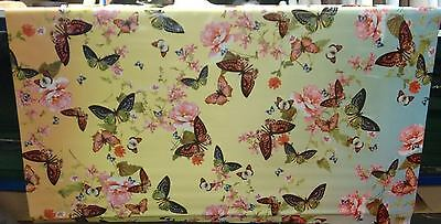 BUTTERFLY BORDER BRIGHT VINYL WIPE CLEAN PVC TABLECLOTH
