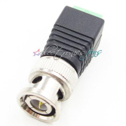 10PCS BNC Male CAT5 CCTV Video Adapter Coax Balun Kamera TV Steckverbinder