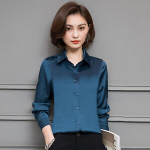 Women-Career-Casual-Solid-Long-Sleeve-Silk-Party-Blouse-Tops-Button-Down-Shirt