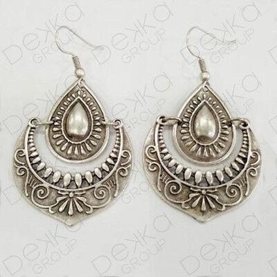 Silver Oval Earrings Ottoman Turkish Ethnic Tribal Gypsy Boho Disc Teardrop