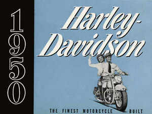 VINTAGE 1950 HARLEY DAVIDSON MOTORCYCLE AD POSTER PRINT 27x36 9MIL PAPER