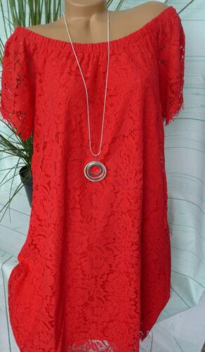 Zizzi Robe Manches Courtes Dentelle Robe Taille S 42//44 à M 46//48 rouge avec dentelle 529
