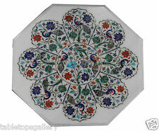 """24"""" White Marble Side Corner Table Top Inlay Marquetry Peacock Floral Decor H423"""
