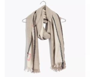 NWT-Madewell-By-J-Crew-Geo-Texture-Scarf-Tan-Pink-Wool-Blend-Fringe-Oversized