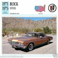 BUICK RIVIERA 1971 1973 CAR USA ETATS-UNIS CARTE CARD FICHE