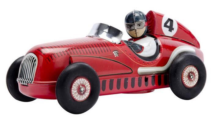 Schylling Race Car Grand Prix Racer Tin Toy Racing Car Red Metal Sign