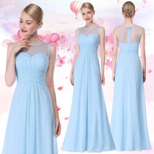 Ever-Pretty UK Long Sleeveless Bridesmaid Dresses Blue Wedding Gowns UK Sell